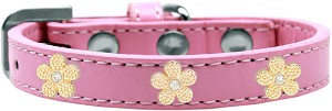 Gold Flower Widget Dog Collar Light Pink Size 18
