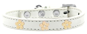 Gold Flower Widget Dog Collar White Size 18