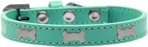 Silver Bone Widget Dog Collar Aqua Size 16