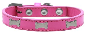 Silver Bone Widget Dog Collar Bright Pink Size 14