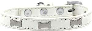 Silver Bone Widget Dog Collar White Size 18