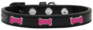 Pink Bone Widget Dog Collar Black Size 12