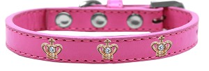 Gold Crown Widget Dog Collar Bright Pink Size 12