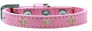 Gold Crown Widget Dog Collar Light Pink Size 20
