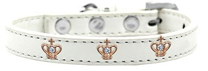 Gold Crown Widget Dog Collar White Size 14
