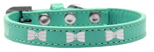 White Bow Widget Dog Collar Aqua Size 16