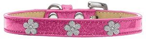 Silver Flower Widget Dog Collar Pink Ice Cream Size 14