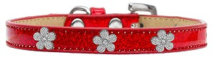 Silver Flower Widget Dog Collar Red Ice Cream Size 20