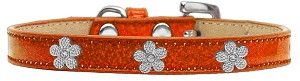 Silver Flower Widget Dog Collar Orange Ice Cream Size 14