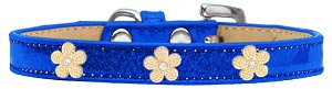 Gold Flower Widget Dog Collar Blue Ice Cream Size 20