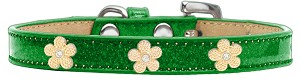 Gold Flower Widget Dog Collar Emerald Green Ice Cream Size 12