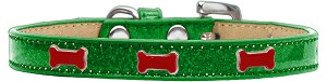 Red Bone Widget Dog Collar Emerald Green Ice Cream Size 18