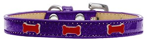 Red Bone Widget Dog Collar Purple Ice Cream Size 16