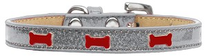 Red Bone Widget Dog Collar Silver Ice Cream Size 14