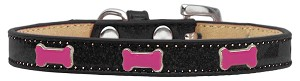 Pink Bone Widget Dog Collar Black Ice Cream Size 16