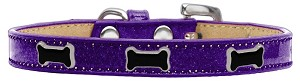 Black Bone Widget Dog Collar Purple Ice Cream Size 20