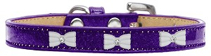 White Bow Widget Dog Collar Purple Ice Cream Size 12