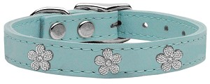 Silver Flower Widget Genuine Leather Dog Collar Baby Blue 18