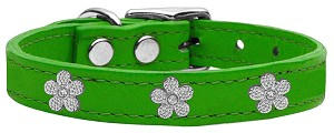 Silver Flower Widget Genuine Leather Dog Collar Emerald Green 10