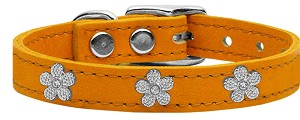 Silver Flower Widget Genuine Leather Dog Collar Mandarin 24
