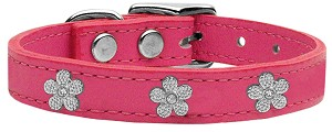 Silver Flower Widget Genuine Leather Dog Collar Pink 10