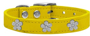 Silver Flower Widget Genuine Leather Dog Collar Yellow 10