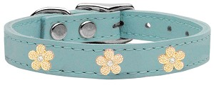 Gold Flower Widget Genuine Leather Dog Collar Baby Blue 14