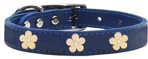 Gold Flower Widget Genuine Leather Dog Collar Blue 20