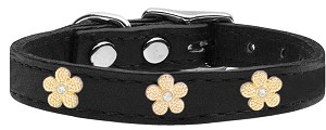 Gold Flower Widget Genuine Leather Dog Collar Black 12