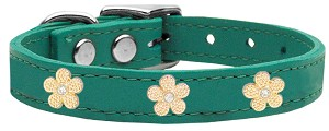 Gold Flower Widget Genuine Leather Dog Collar Jade 16