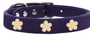 Gold Flower Widget Genuine Leather Dog Collar Purple 14