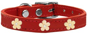 Gold Flower Widget Genuine Leather Dog Collar Red 10