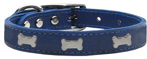 Silver Bone Widget Genuine Leather Dog Collar Blue 18
