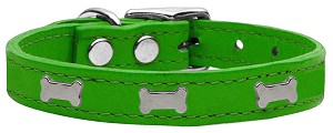 Silver Bone Widget Genuine Leather Dog Collar Emerald Green 10
