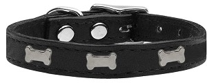 Silver Bone Widget Genuine Leather Dog Collar Black 24