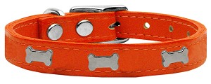 Silver Bone Widget Genuine Leather Dog Collar Orange 12