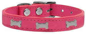 Silver Bone Widget Genuine Leather Dog Collar Pink 18
