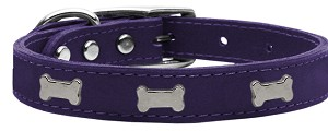 Silver Bone Widget Genuine Leather Dog Collar Purple 14