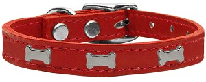 Silver Bone Widget Genuine Leather Dog Collar Red 10