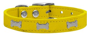 Silver Bone Widget Genuine Leather Dog Collar Yellow 10
