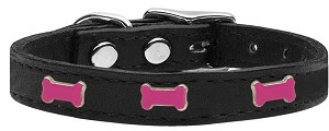 Pink Bone Widget Genuine Leather Dog Collar Black 26