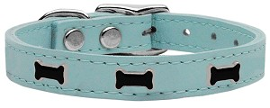 Black Bone Widget Genuine Leather Dog Collar Baby Blue 16