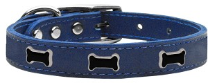 Black Bone Widget Genuine Leather Dog Collar Blue 10