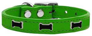 Black Bone Widget Genuine Leather Dog Collar Emerald Green 22