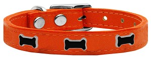 Black Bone Widget Genuine Leather Dog Collar Orange 24