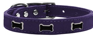 Black Bone Widget Genuine Leather Dog Collar Purple 10