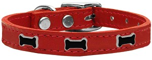 Black Bone Widget Genuine Leather Dog Collar Red 14