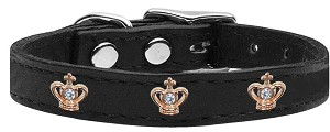 Gold Crown Widget Genuine Leather Dog Collar Black 12
