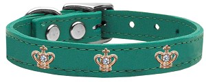 Gold Crown Widget Genuine Leather Dog Collar Jade 22