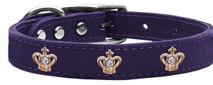 Gold Crown Widget Genuine Leather Dog Collar Purple 16